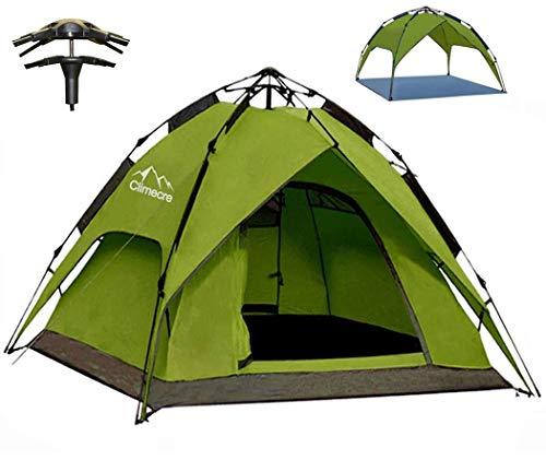 Climecare Wurfzelt Pop Up Zelt 2-3 Personen Campingzelte Winddicht Kuppelzelt Leichtes Sekundenzelt Sofortiges Aufstellen Strandzelt Familienzelt (Grün)