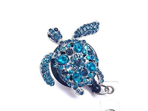 Sizzle City Rhinestone Brooch Badge Reels, Nurse Badge Retractable ID Badge Holder, Name Tag (Bling Turquoise Turtle Reel) Photo #3