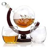 SYZHIWUJIA Whisky Globe Decanter Set Eched World Globe Decanter para Vino Tinto, Licor, Borbón, Vodka, con 2 Gafas, Accesorios para Bares para Hombres Licorera