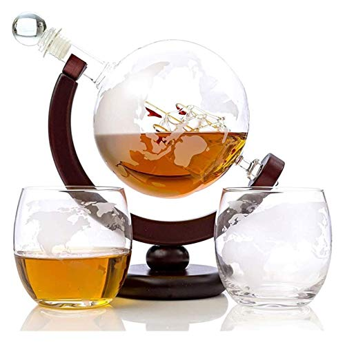 ZKDY Whisky Globe Decanter Set Etched World Globe Decanter per Vino Rosso, liquori, Borbone, Vodka, con 2 Bicchieri, Accessori per Bar a casa per Gli Uomini Whisky Decanter