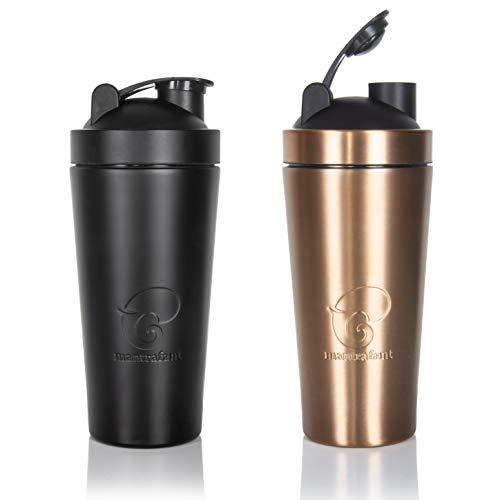 Mantrafant Guru Blender Pro - Botella de acero inoxidable para batir proteínas con batidor integrado, sin BPA, fabricada de forma sostenible, batidora de proteínas, para fitness, gimnasio y deportes