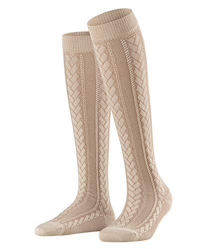 FALKE Damen Kniestrümpfe Wiesn Braid, Baumwollmischung, 1 Paar, Beige (Sand Melange 4650), Größe: 39-42