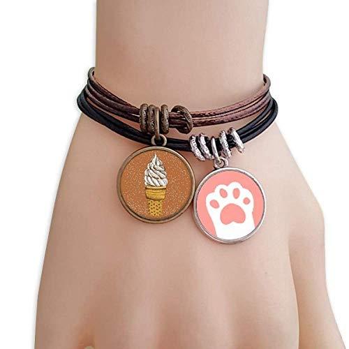 DIYthinker Womens crème chocolade ei kegels ijs katten armband lederen touw polsband paar set