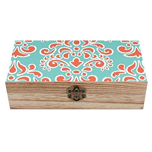 Ikat - Caja decorativa de madera de damasco floral de color aguamarina y coral, caja de regalo para el hogar, caja de regalo, caja de té de almacenamiento de 19 x 9 x 5.8 cm
