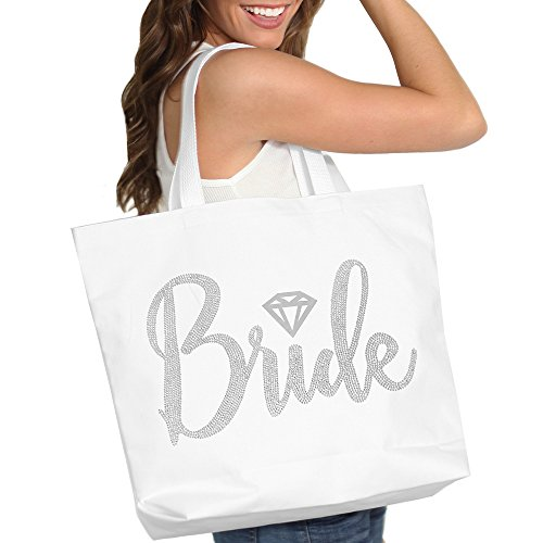 Bride Tote Bag, Bride Kit- Giant 18' x 14' Cotton Canvas White Totes with Diamond Motif Rhinestones, Engagement or Bridal Shower Gift & Accessories Bride Tote - White Tote(DiaBride RS) WHT