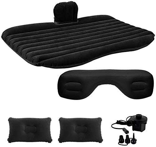 Luanoy Car Air Inflatable Bed Mattress, Portable PVC Flocking Car Travel Backseat for Vacation Camping with Two Pillows - Compatible with SUV MVP