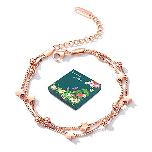Pulsera de cadena de titanio y acero para mujer, ajustable, con estrellas de doble capa, elegante y hermosa, con caja de regalo (plateada),