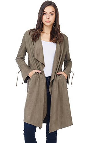 A+D Womens Casual Drape Open Front Faux Suede Fall Jacket Coat (Olive, Large)