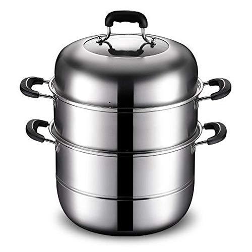 GCP Olla de Vapor, Juego de ollas de Cocina de Acero Inoxidable, Olla para cocinar al Vapor, con Asas, Olla de inducción para cocinar en la Cocina, Tres Capas, 32 cm