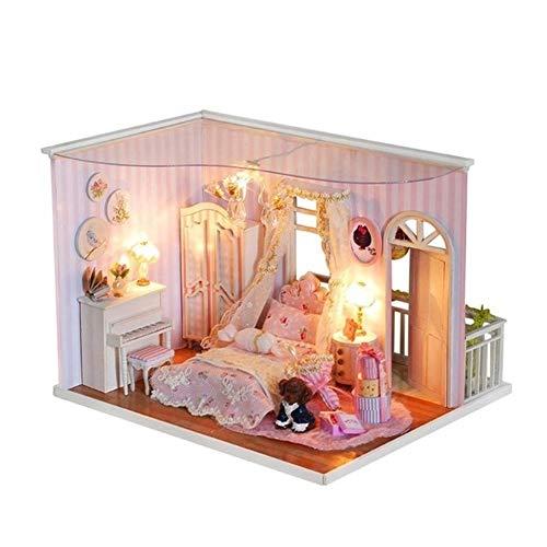 Chezhan -Los niños Miniatura casa de muñecas Hecha a Mano Infantil Asamblea Casas de muñecas cumpleaños Juguetes de los niños de Bricolaje de Madera Modelo Casa de muñecas con Muebles Creatividad