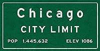 なまけ者雑貨屋 アメリカン 雑貨 ナンバープレート [Chicago City Limit ] ヴィンテージ風 ライセンスプレート メタルプレート ブリキ 看板 アンティーク レトロ