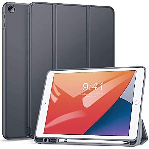 ZtotopCase Custodia per iPad 10.2 2019 iPad 10.2 2020,con Spazio per Il Pennino-scocca Leggera e Morbida TPU e Funzione di Blocco sblocco Schermo Automatica,per di iPad 7 8 Generazione Tablet,Grigio
