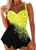 MU2M Womens Swimwear Cover Up Swimdress Two Piece Shorts Tankini Swimsuit Set Yellow US M