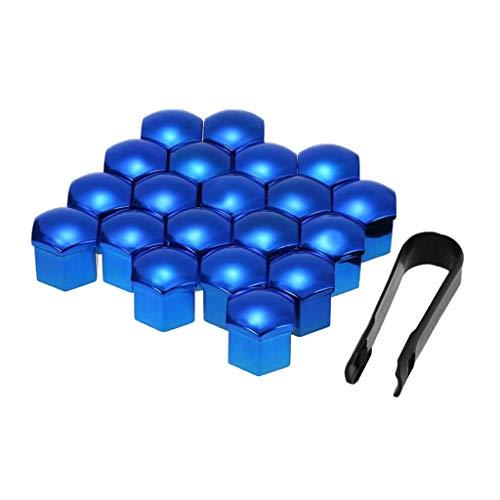 freneci 20pcs 17mm Universal Radmutter Kappe Radschrauben Radmuttern Schrauben Abdeckungen mit Entfernung Werkzeug Set - Blau