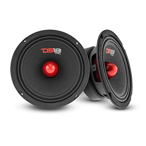 "DS18 2X PRO-GM6B Loudspeaker - 6.5"", Midrange, Red Aluminum Bullet, 480W Max, 140W RMS, 8 Ohms - Premium Quality Audio Door Speakers for Car or Truck Stereo Sound System (2 Speakers)"