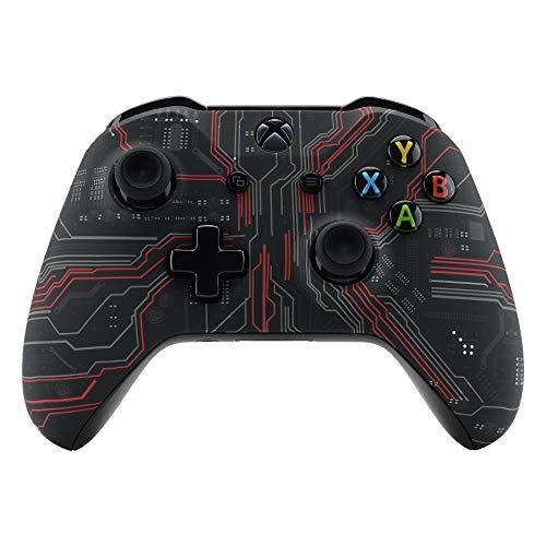 eXtremeRate Gehäuse für Xbox One S/X,Obere Case Hülle Cover Schale Schutzhülle Zubehör Soft Touch Skin Shell für Xbox One S/Xbox One X Controller Modell 1708(Evil Circuit)