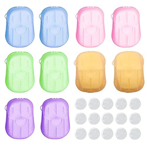 10 Boxen Einweg Papier Seife mit Kunststoffbox und Komprimiertes Handtuch 200 Tabletten Tragbare Seife Papier Seifenblätter 6 Verschiedene Gerüche (5 Farben)