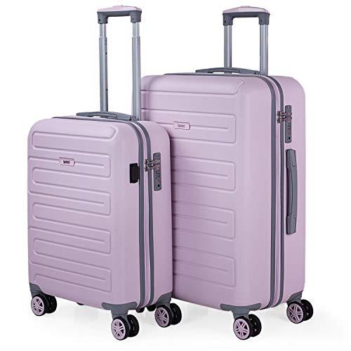 SKPAT - Set di 2 valigie con USB 4 ruote Trolley ABS. Rigide, resistenti, e leggere. Lucchetto TSA integrato. Misure Piccola e Mediana. Qualità e dissegno. 175015, Color Rosa