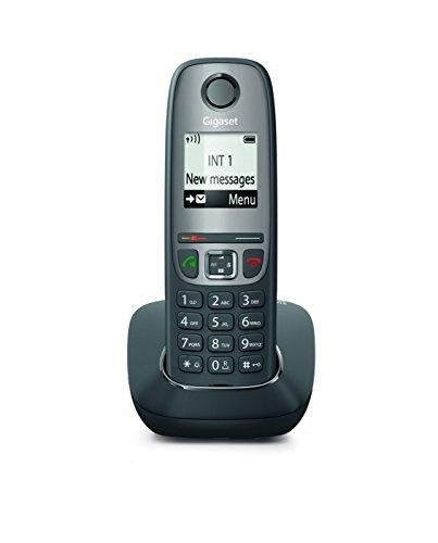 Gigaset AS475 Telefono Cordless, Tastiera Retroilluminata, Ampio Raggio d'Azione, Numeri Grandi sul Display,  Rubrica fino a 100 contatti, Black List, Nero/Grigio