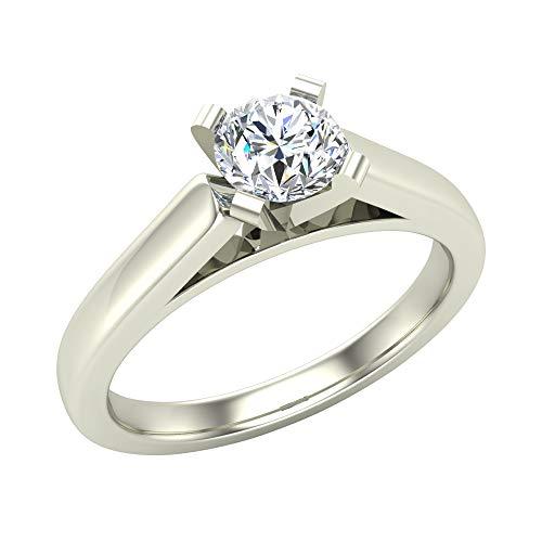 Anillo de compromiso de diamante de corte redondo para mujer de oro blanco de 14 quilates de 1/3 quilates, ajuste solitario de 4 puntas (color G, claridad SI) (tamaño de anillo 9)
