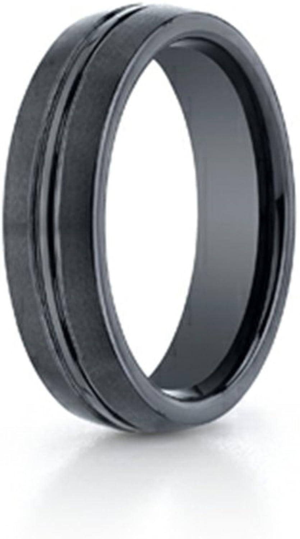 Benchmark Ceramic 6mm Comfortfit Satinfinished Design Ring Size 13
