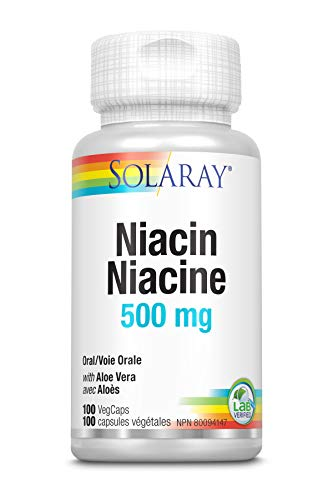 Solaray Niacin 500 mg | Sans rinçage | Vitamine B-3 pour une peau saine, circulatoire et nerveux | 100 VegCaps