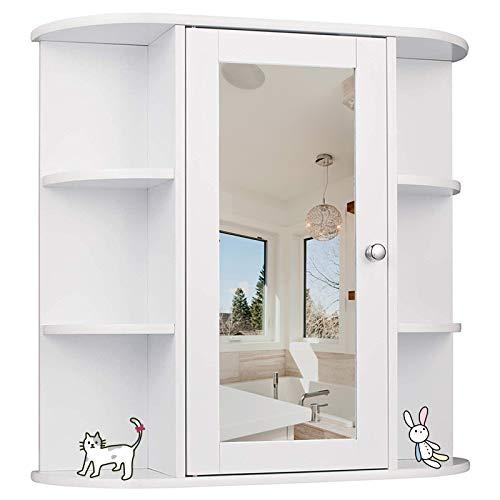 YIZHE Spiegelschrank,Hängeschrank,Badschrank,Badezimmerschrank,Aufbewahrungsschrank, mit 6 Lagerplätze,Spiegelschrank mit Einer Tür,Unterschränke,MDF, Weiß, 56 x 13 x 58 cm
