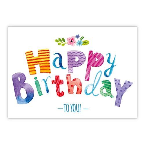 Kleurrijke grappige verjaardagskaart met punten en bloemen: Happy Birthday to you • mooie wenskaart voor verjaardag met envelop zakelijk & privé
