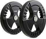 POWRX Discos olímpicos 30 kg Set (2 x 15 kg) - Pesas Ideales para Mancuernas y...