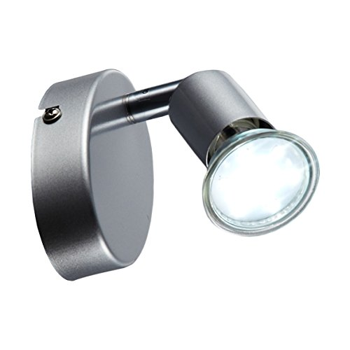 B.K.Licht I LED Deckenleuchte I Deckenspot I Wandspot I inkl. 3W GU10 warmweiß I Schwenkbar I 1-flammig I Titanfarbig