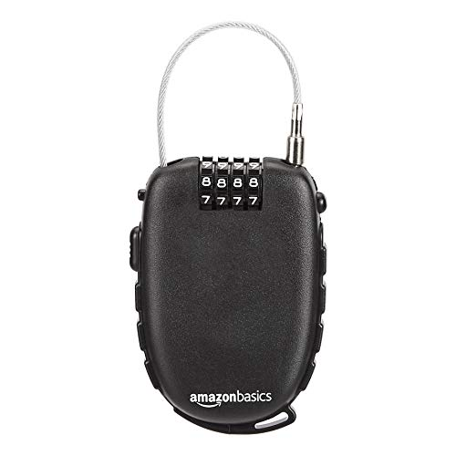 AmazonBasics 4-Digit Retractable Cable Lock, 1-Pack -Black