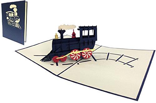 Pop-up kaart verjaardagskaart, wenskaart, locomotief, felicitatiekaarten trein, reis tegoedbon, stoomlocomotieven (grote kaarten 15 x 20 cm) (nr. 228)