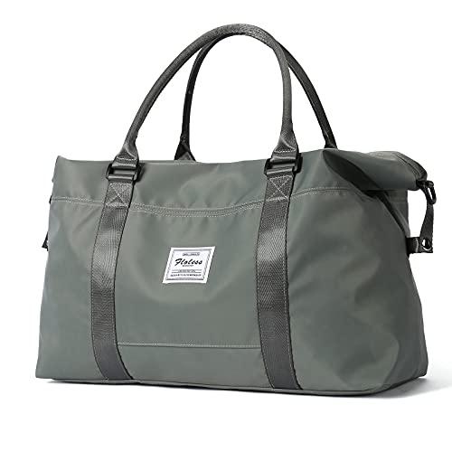 Bolsa de viaje de viaje, bolsa de deporte para gimnasio, bolsa de hombro para la noche para mujer con bolsillo húmedo y funda para carrito, verde
