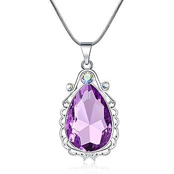 VINJEWELRY Sofia Necklace Amulet Teardrop Amethyst Pendant Necklace Sofia Princess Costumes Jewelry for Little Girls