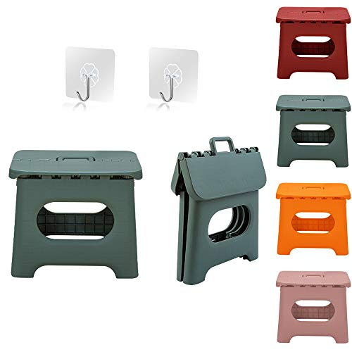 QILESUNNY Upgrade Version Kids' Step Stools,Folding Step Stool with Handle,Portable Collapsible Small Plastic Foot Stool for Kids and Adults - Use in The Kitchen, Bathroom and Bedroom,Picnic (Green)