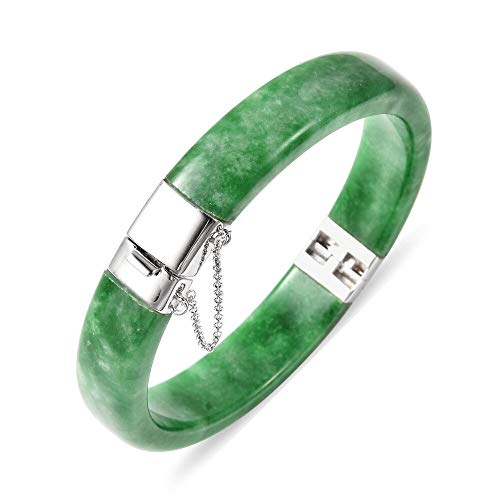 Green Jade Bangle (Size 7.5) in Rhodium Plated Sterling Silver 157.50 Ct, Silver wt. 5.00 Gms