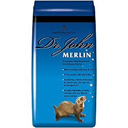 TASTY CHICKEN DRY FOOD — Dr. John Merlin Ferret Food is a complete, energy-rich diet for all types of ferrets. High-protein with Omega-3 and 6 oils and 35% chicken, liver and rice for a flavour they will love! COMPLETE NUTRITION — we use only the fin...