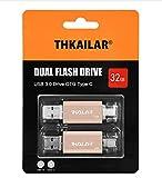 THKAILAR Memoria USB OTG 2 en 1 Flash Drive USB 3.0 Memory Stick USB Tipo C Pen Drive USB Flash Drive para PC/portátil/Notebook y otros dispositivos USB (32GBx2, dorado)