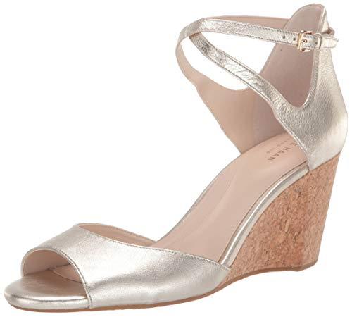 Cole Haan Women's Sadie Grand Open Toe Sandal (75MM Mule, Soft Gold Metallic Leather/Cork Wedge