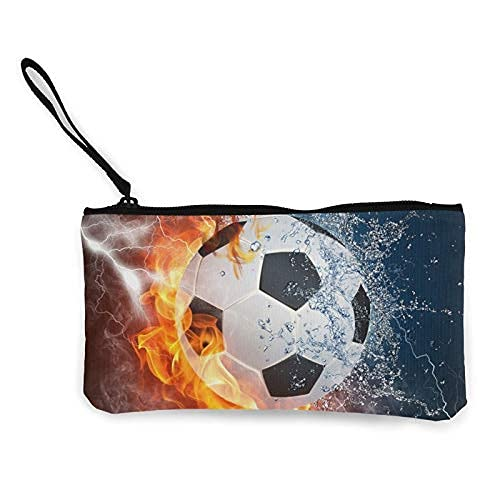 Estudiante de lona caja de lápiz de la pluma bolsa monedero bolsa cosmética maquillaje bolsa fuego fuego fuego fuego hielo agua fútbol fútbol