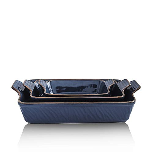KOOV Bakeware Set, Ceramic Baking Dish Set, Rectangular Casserole Dish Set, Lasagna Pans for Cooking, Cake Dinner, Kitchen, 9 x 13 Inches, Texture Series 3-Piece (3 Piece, Dark Blue)