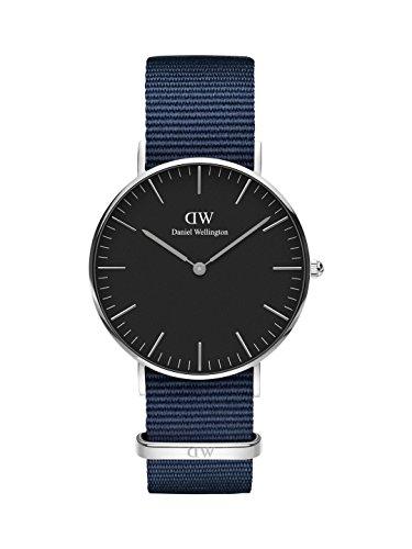 Daniel Wellington Unisex Erwachsene Analog Quarz Uhr mit Stoff Armband DW00100282