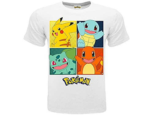 Pokémon T-Shirt Originale Bianca 4 Personaggi Pikachu Ufficiale Maglia Maglietta Bimbo Ragazzo (12-13 Anni)