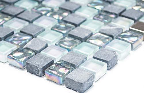 Mosaikfliese Transluzent Edelstahl grau Glasmosaik Crystal Stein Stahl grau MOS92-0206_m