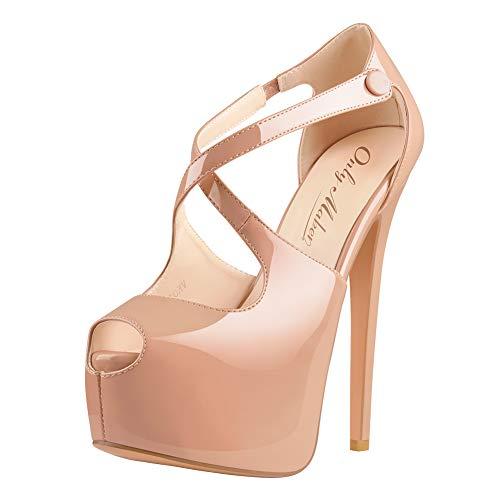Onlymaker Onlymaker Damenschuhe High Heels Peep Toe Lack Sandale mit Plateau Lackleder Natural EU40