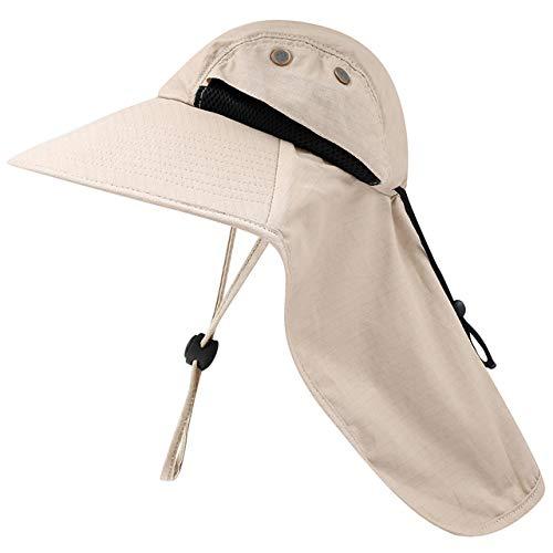 Casquette de pêche Unisexe Chapeau de Soleil à Large Bord avec Rabat de Cou Chapeau de randonnée Chapeau de Chasse à Cordon réglable pour Voyage Camping Bateau, Kaki