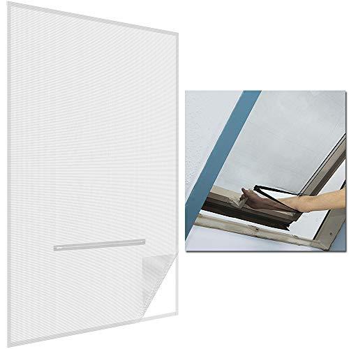 SunDeluxe Fliegengitter für Dachfenster 140x170cm 2er Set Weiß - mit Reißverschluss zum Öffnen - selbstklebend inkl. Klettband/ohne Bohren - individuell kürzbar