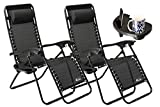 SUNMER Set of 2 Sun Lounger Garden Chairs With Cup And Phone Holder - Deck Folding Recliner Zero Gravity Outdoor Chair - Black
