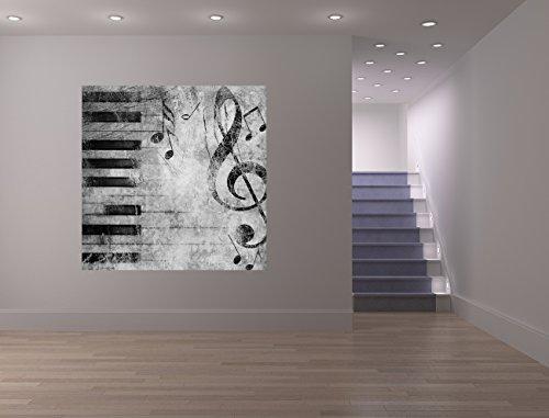 Bilderdepot24 Fototapete selbstklebend Grunge Musik - schwarz weiß 100x100 cm   Moderne Wand-deko Dekoration Wohnung Wohnzimmer Wandtapete  