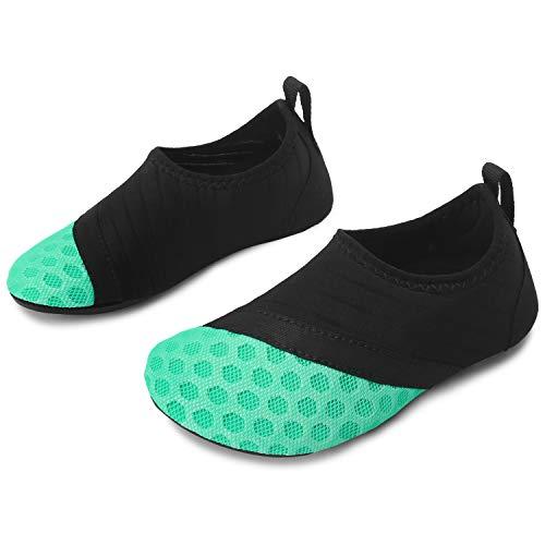JOINFREE Niños Calcetines de Agua de Playa Verde Negro Zapatillas de Piscina para natación Canotaje Kayak Negro Verde 18-37 UE